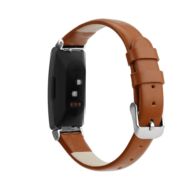 Fitbit Inspire bandje leer bruin - Onlinebandjes.nl