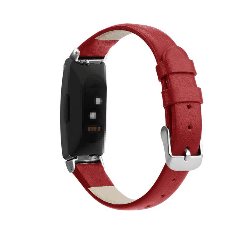Fitbit Inspire bandje leer rood - Onlinebandjes.nl