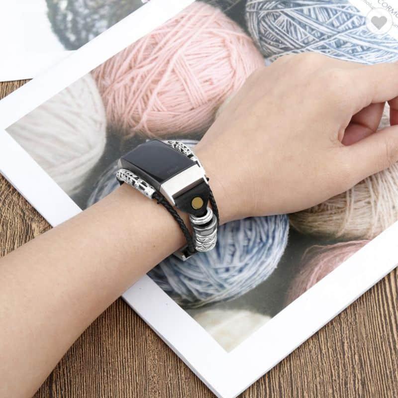 Fitbit bandje Charge 3 - zwart leer - Onlinebandjes.nl