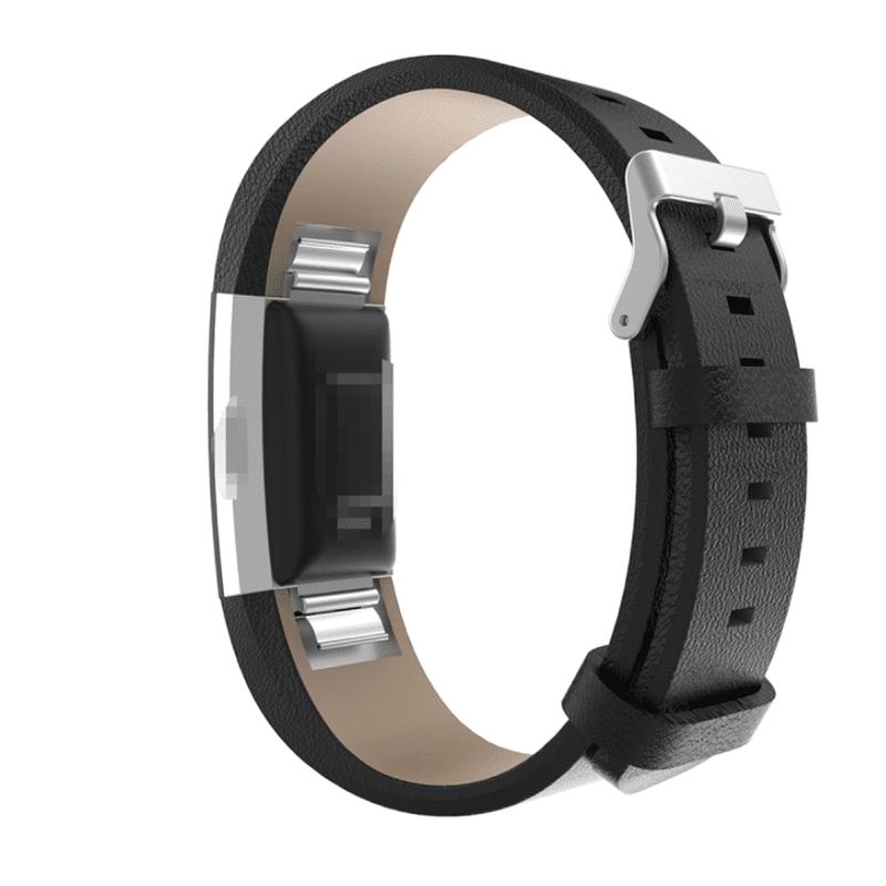 Fitbit bandje charge 2 kalfsleer zwart - Onlinebandjes.nl