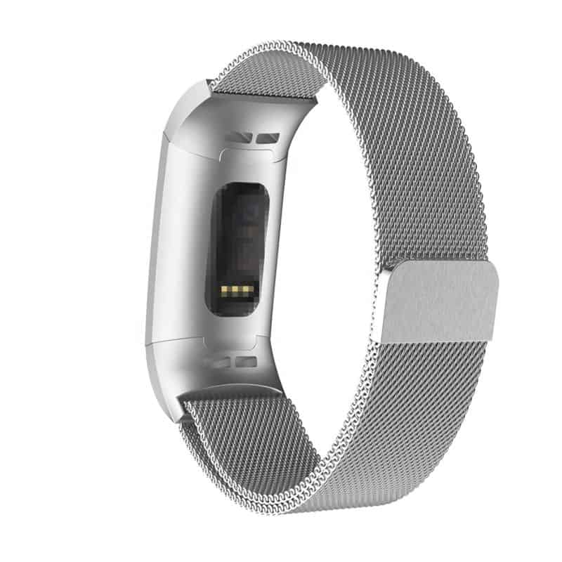 Fitbit bandje charge 3 milanese zilver - Onlinebandjes.nl