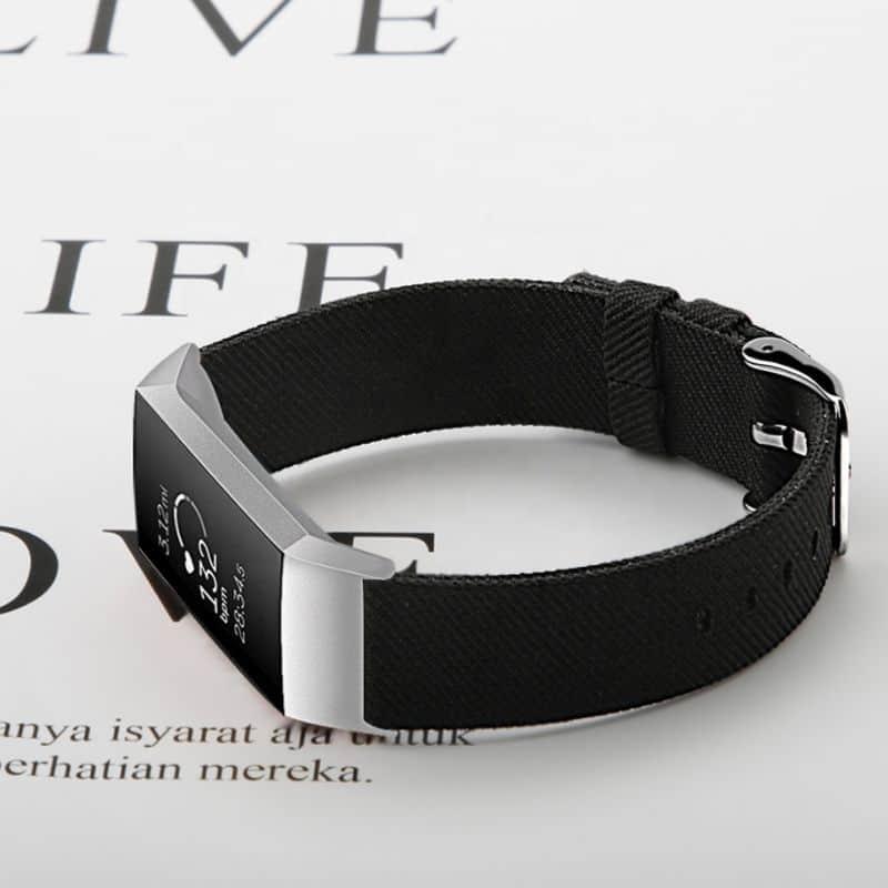 Fitbit bandje charge 3 zwart nylon - Onlinebandjes.nl