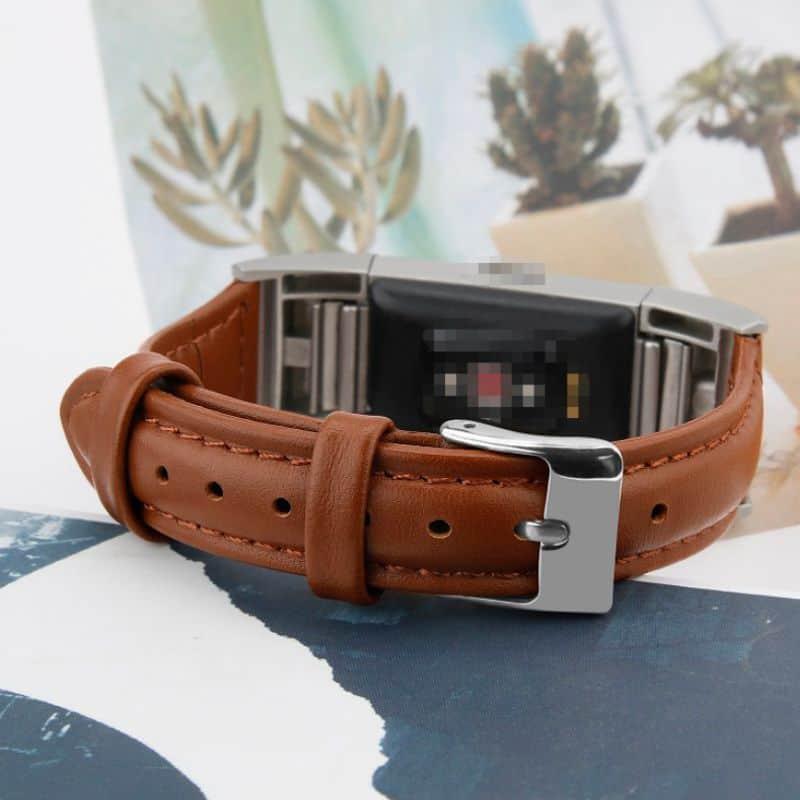 Fitbit charge 2 bandje bruin leer - Onlinebandjes.nl