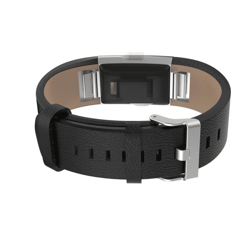 Fitbit charge 2 bandje zwart kalfsleer - Onlinebandjes.nl