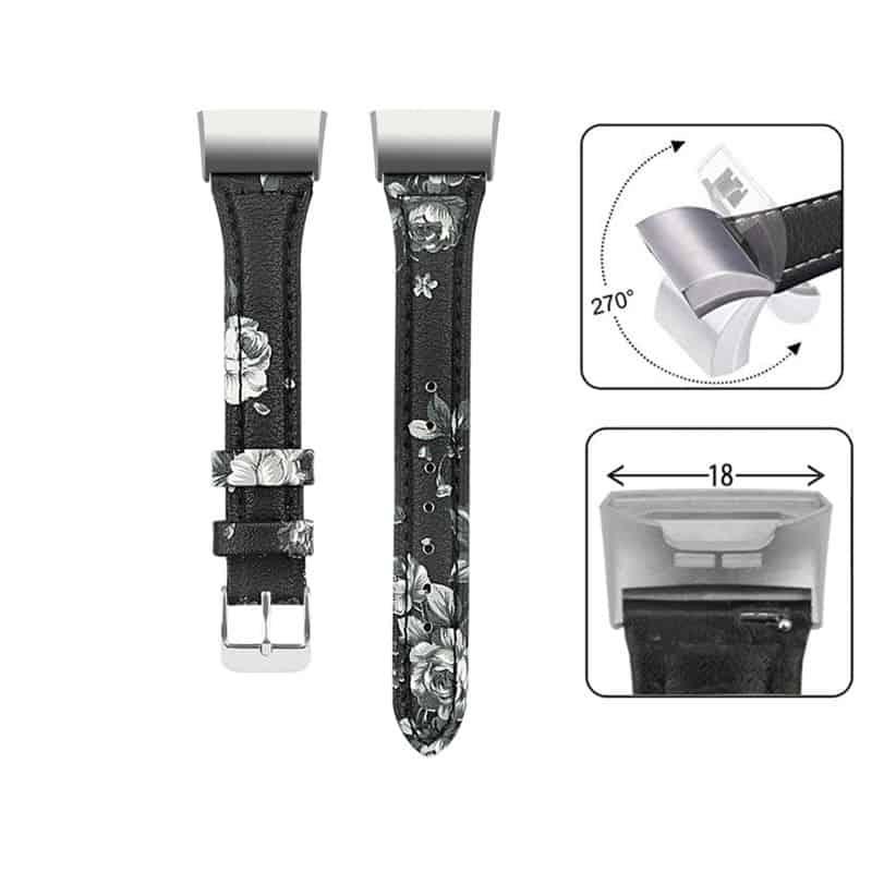 Fitbit charge 4 bandje leer grijs floral - Onlinebandjes.nl