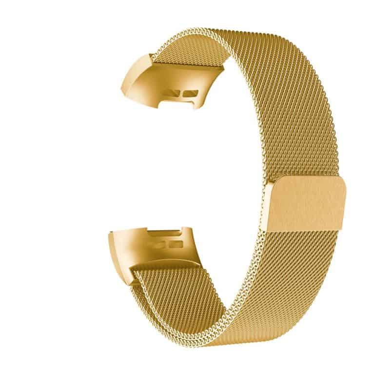 Fitbit charge 4 bandje milanese goud - Onlinebandjes.nl