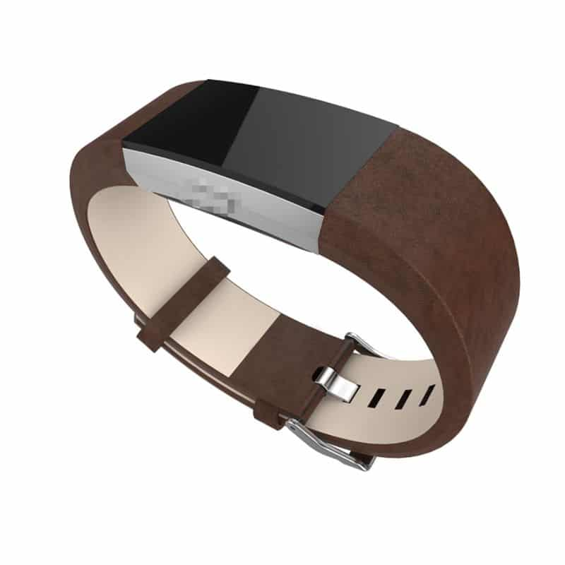 Fitbit charge bandje leer donkerbruin - Onlinebandjes.nl