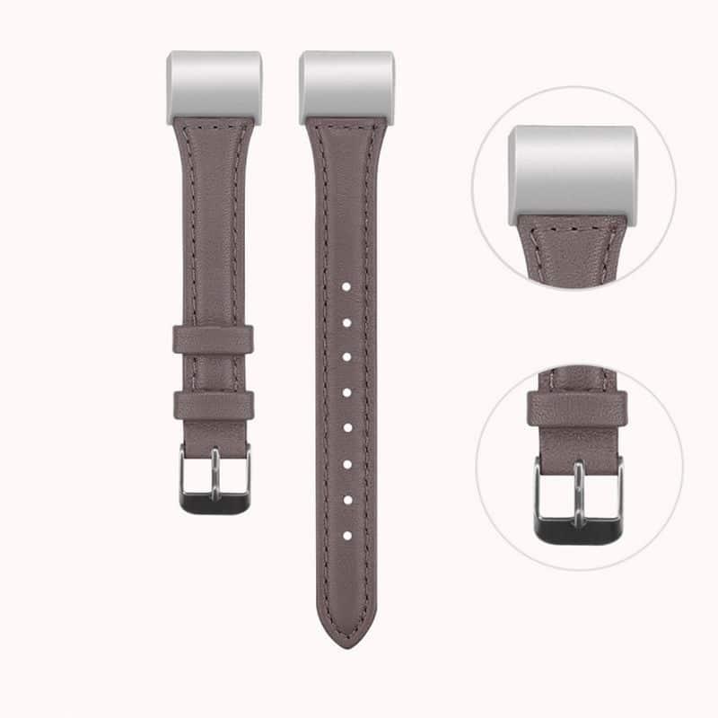 Fitbit charge bandje leer grijs - Onlinebandjes.nl