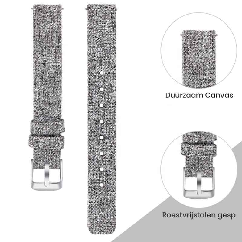Fitbit inspire bandje canvas licht grijs - FItbitbandje.nl