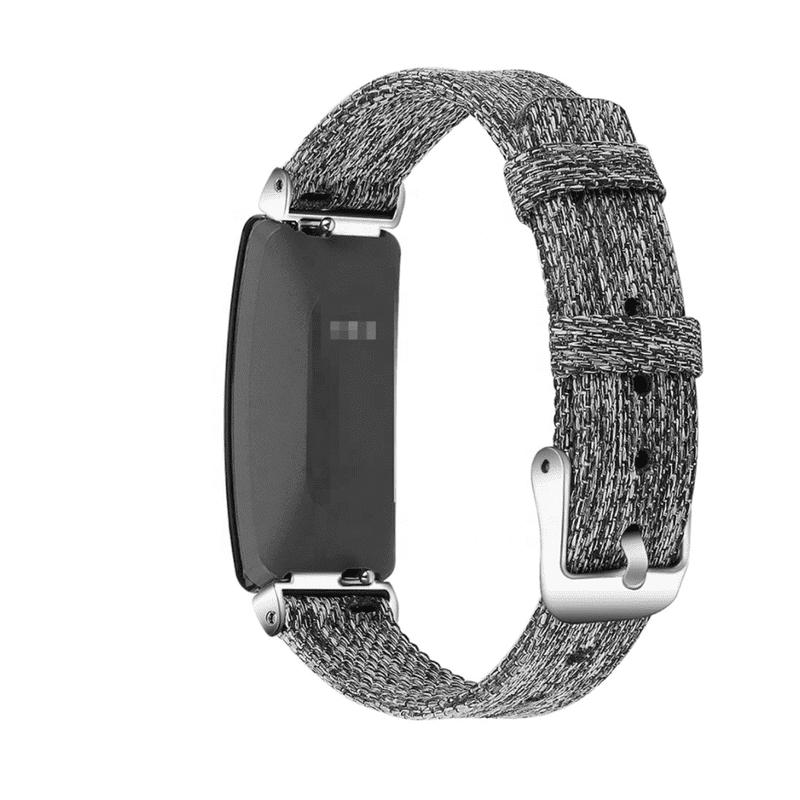 Fitbit inspire hr bandje canvas donkergrijs - Onlinebandjes.nl