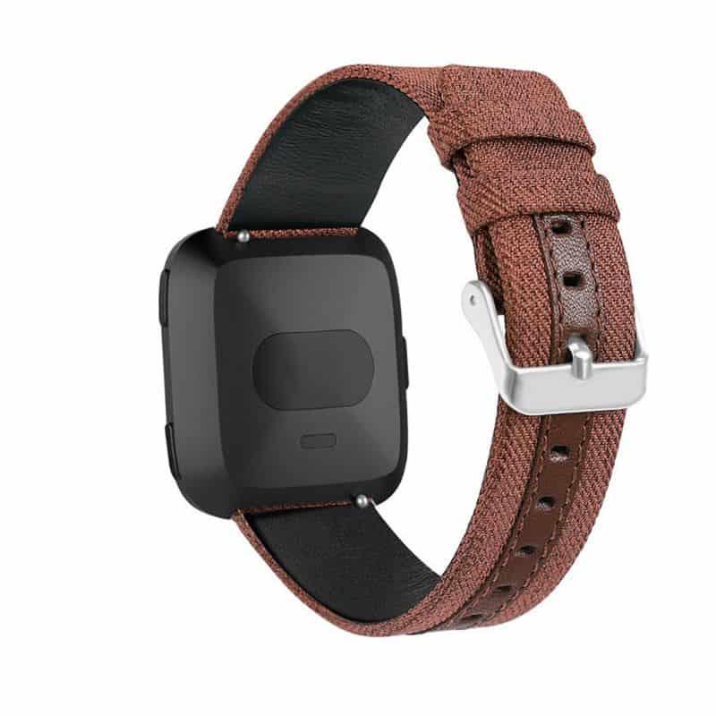 Fitbit versa 2 bandje leer nylon bruin - Onlinebandjes.nl