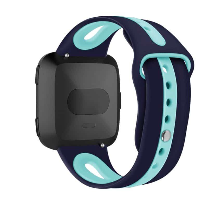 Fitbit versa 2 bandje marineblauw mintgroen - Onlinebandjes.nl