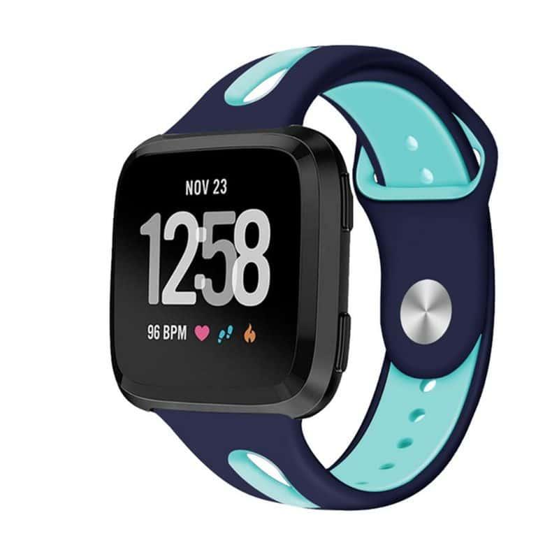 Fitbit versa 2 bandje sport marineblauw mintgroen - Onlinebandjes.nl