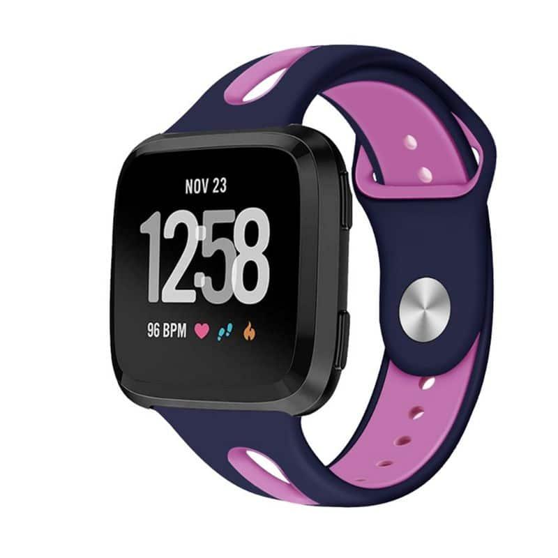 Fitbit versa 2 bandje sport marineblauw roze - Onlinebandjes.nl