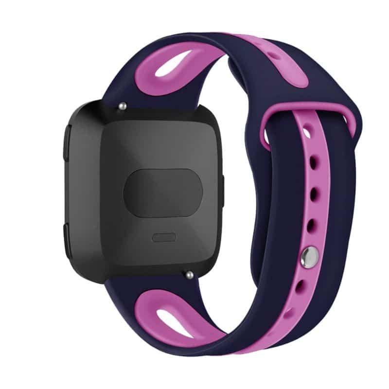 Fitbit versa 2 bandje sport marineblauw roze paars - Onlinebandjes.nl