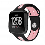 Fitbit versa bandje Sport zwart roze – Fitbitbandje.nl
