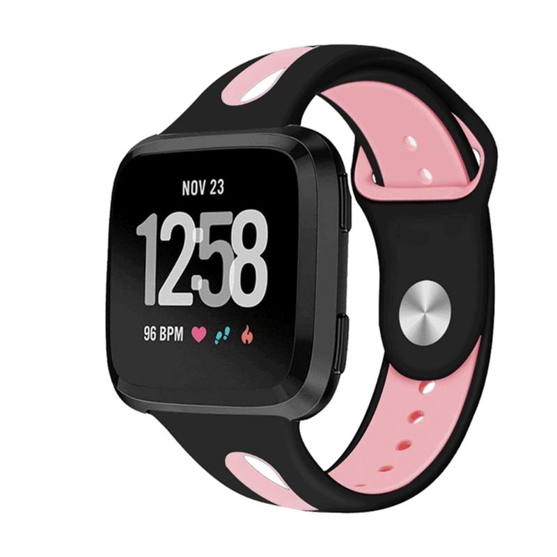 Fitbit versa bandje Sport zwart roze - Onlinebandjes.nl