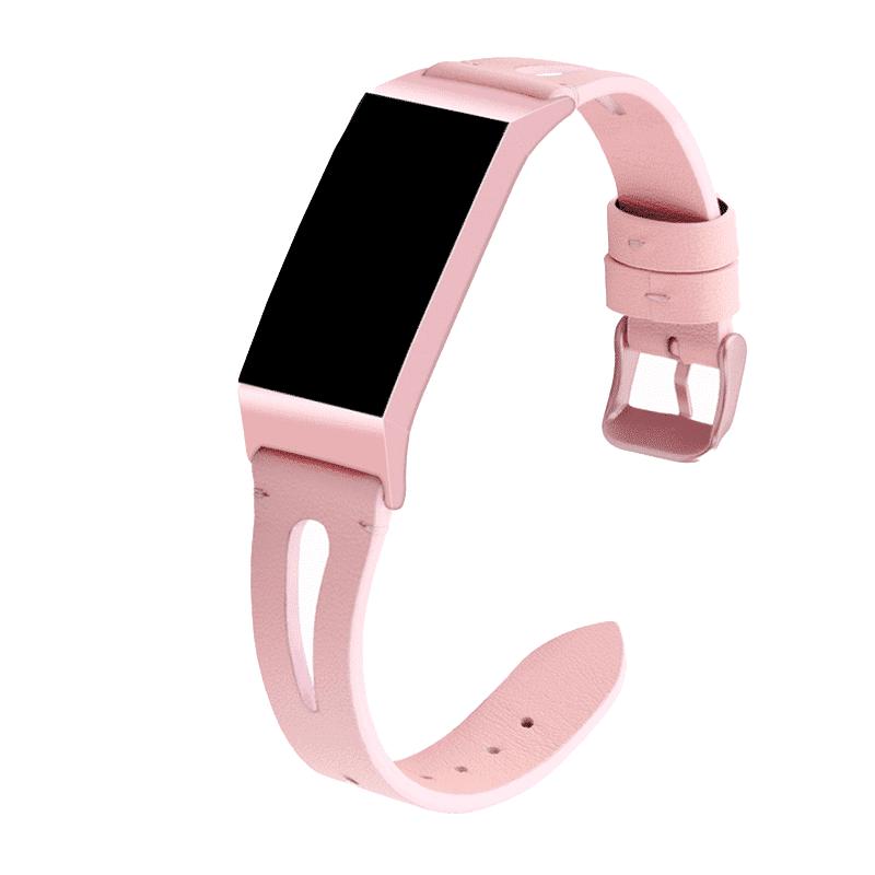 fitbit charge 3-4 bandje leer roze - Onlinebandjes.nl