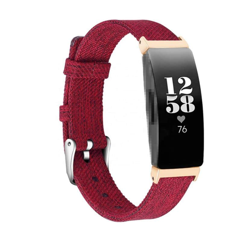 fitbit inspire hr rood canvas - Onlinebandjes.nl