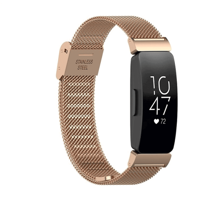 Fitbit inspire bandje milanese roze goud druksluiting - Onlinebandjes.nl