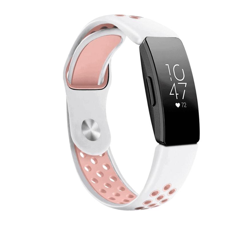 fitbit inspire sport bandje siliconen wit roze - onlinebandjes.nl
