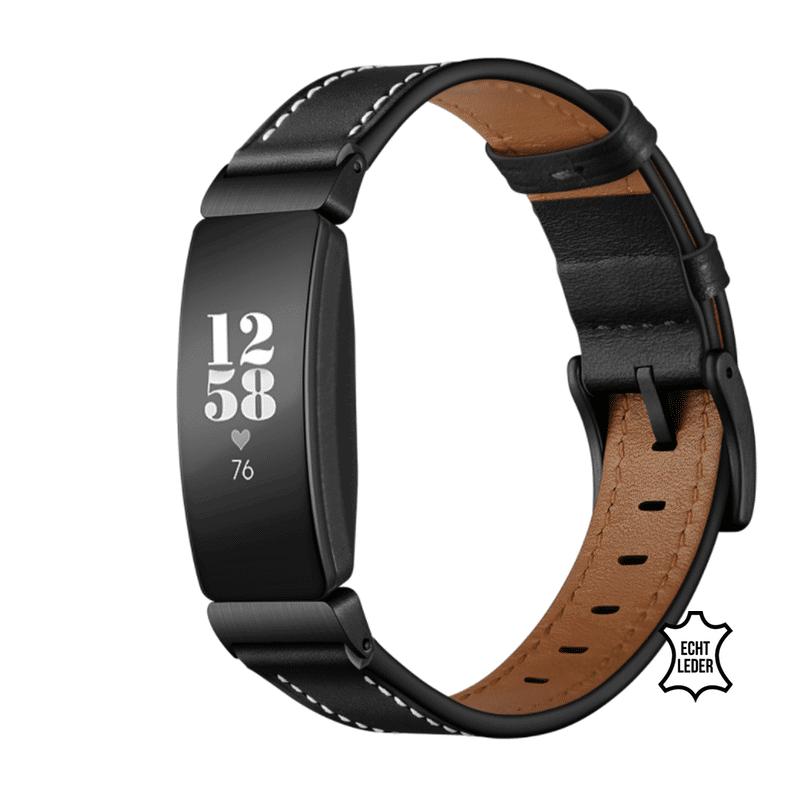 Fitbit inspire bandje leer zwart - Onlinebandjes.nl