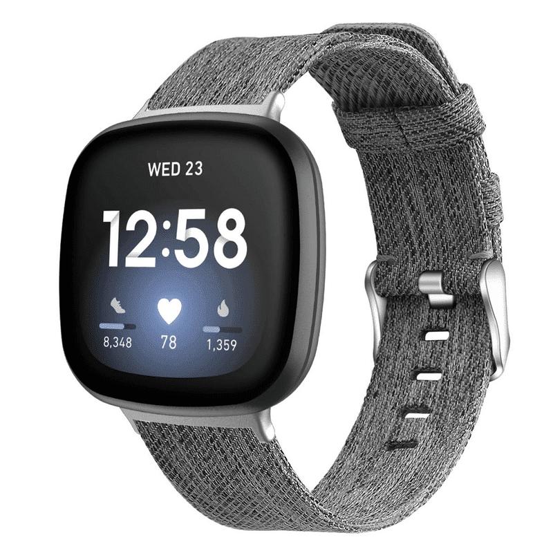 Fitbit versa 3 bandje donker-grijs nylon - Onlinebandjes.nl