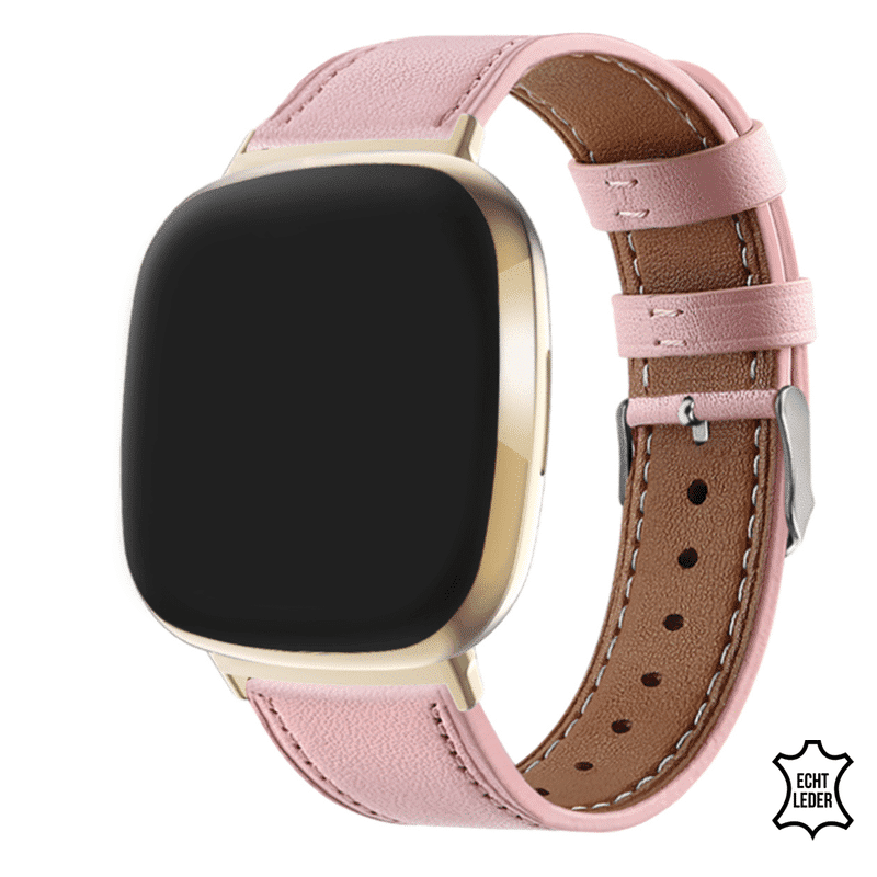 Fitbit versa 3 bandje leer roze - Onlinebandjes.nl