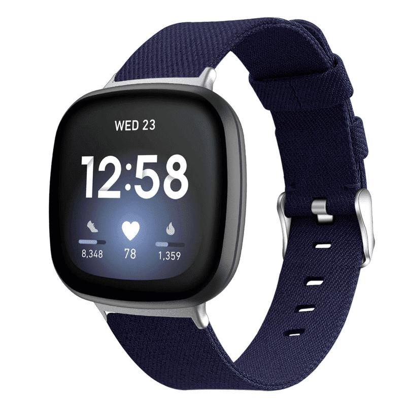Fitbit versa 3 bandje marineblauw nylon - Onlinebandjes.nl
