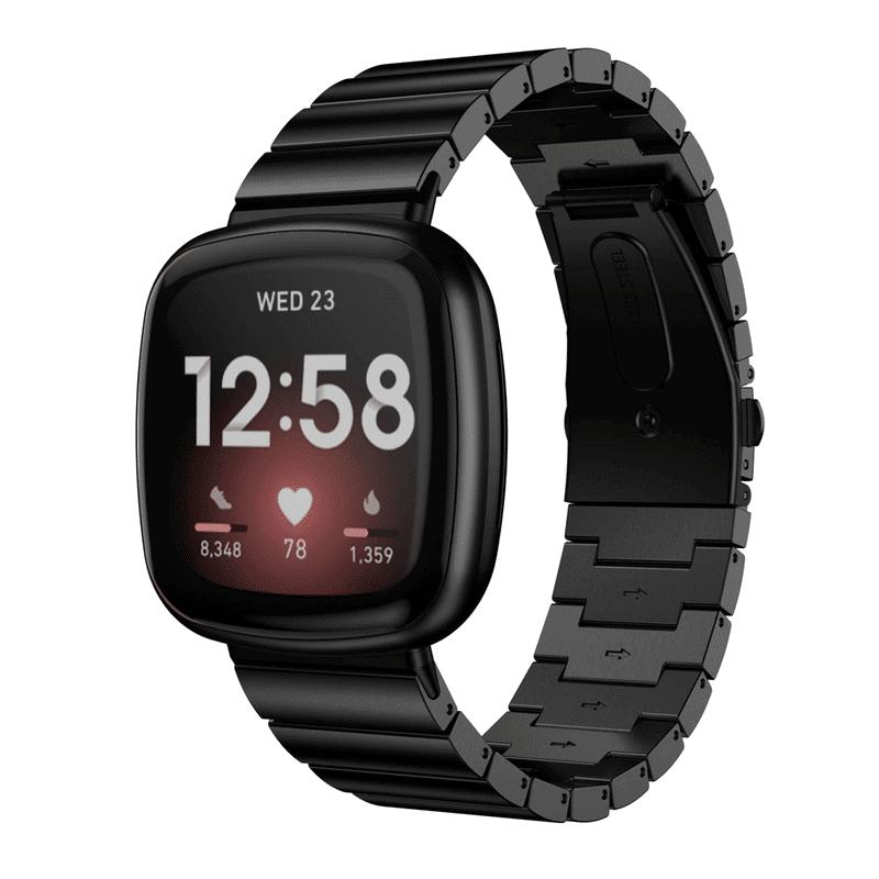 Fitbit versa 3 bandje rvs zwart - Onlinebandjes.nl