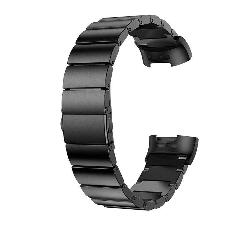 Bandje Fitbit Charge 4 RVS zwart - Onlinebandjes.nl