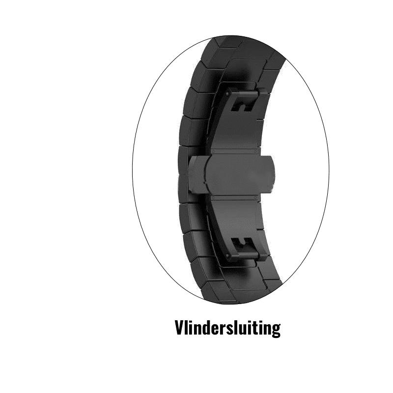 Fibti Charge 4 rvs vlindersluiting zwart - Onlinebandjes.nl