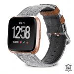 Fitbit Versa 2 bandje Canvas leer grijs bruin – Onlinebandjes.nl