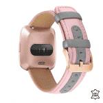 Fitbit Versa 2 bandje leer roze grijs – Onlinebandjes.nl