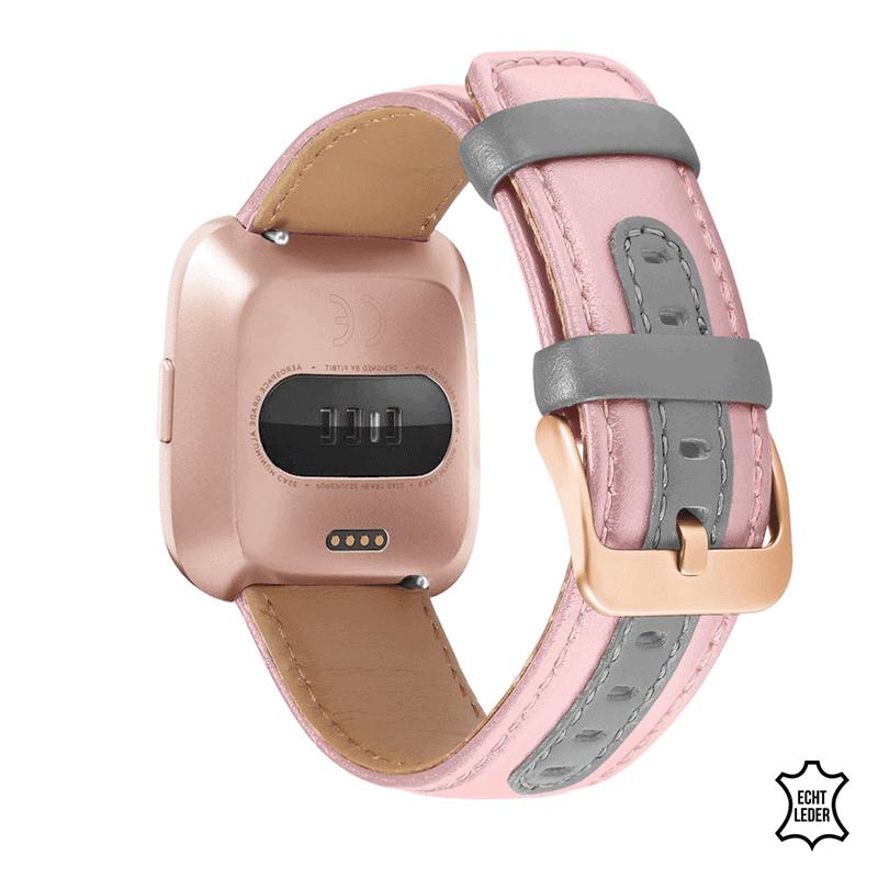 Fitbit Versa 2 bandje leer roze grijs - Onlinebandjes.nl