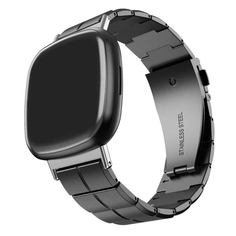 Fitbit Versa 3 - Fitbit Sense RVS bandje zwart - Onlinebandjes.nl