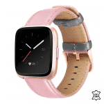 Fitbit Versa bandje Roze grijs leer – Onlinebandjes.nl