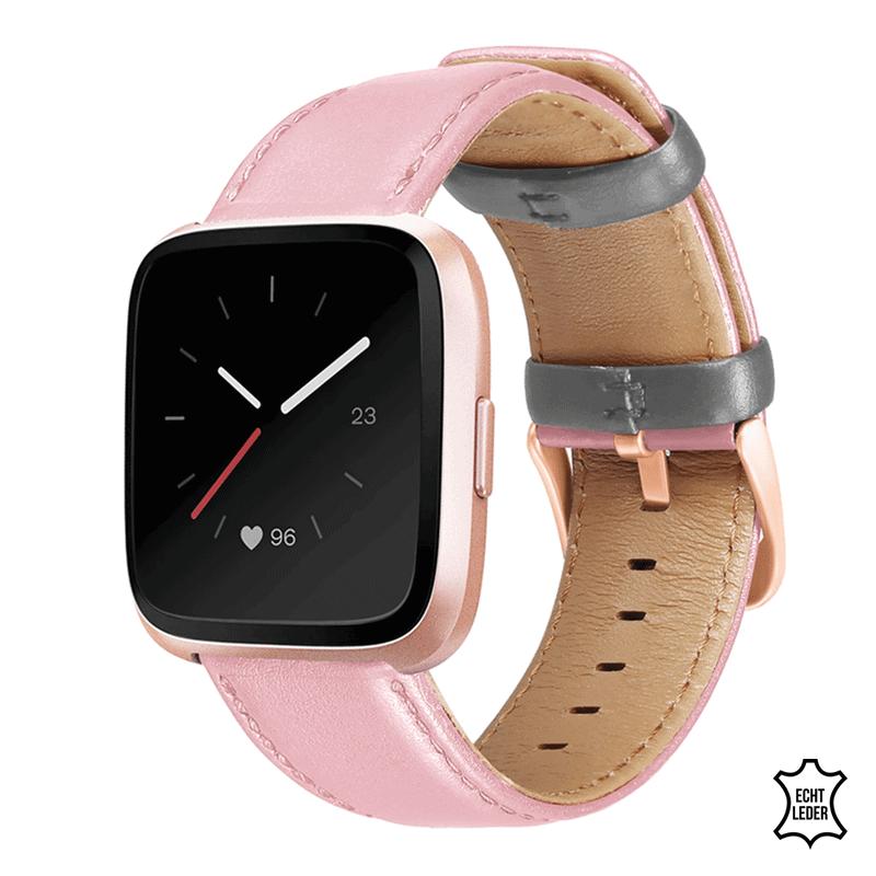 Fitbit Versa bandje Roze grijs leer - Onlinebandjes.nl