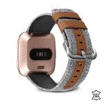 Fitbit Versa bandje canvas leer grijs bruin – Onlinebandjes.nl