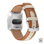 Fitbit Versa bandje leer bruin beige – Onlinebandjes.nl