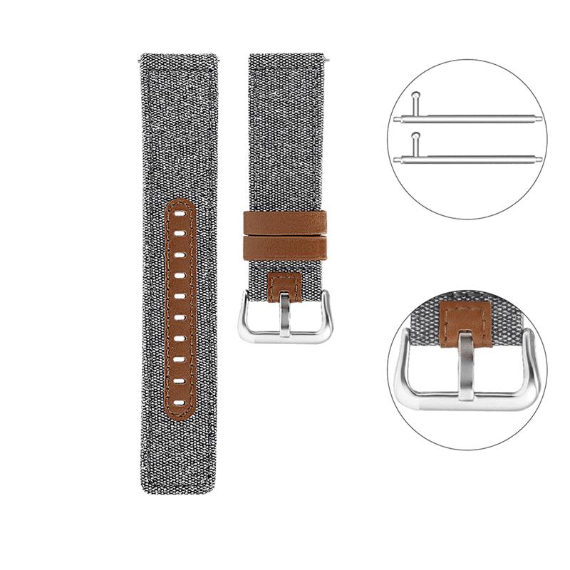 Fitbit Versa bandje leer canvas grijs bruin - Onlinebandjes.nl