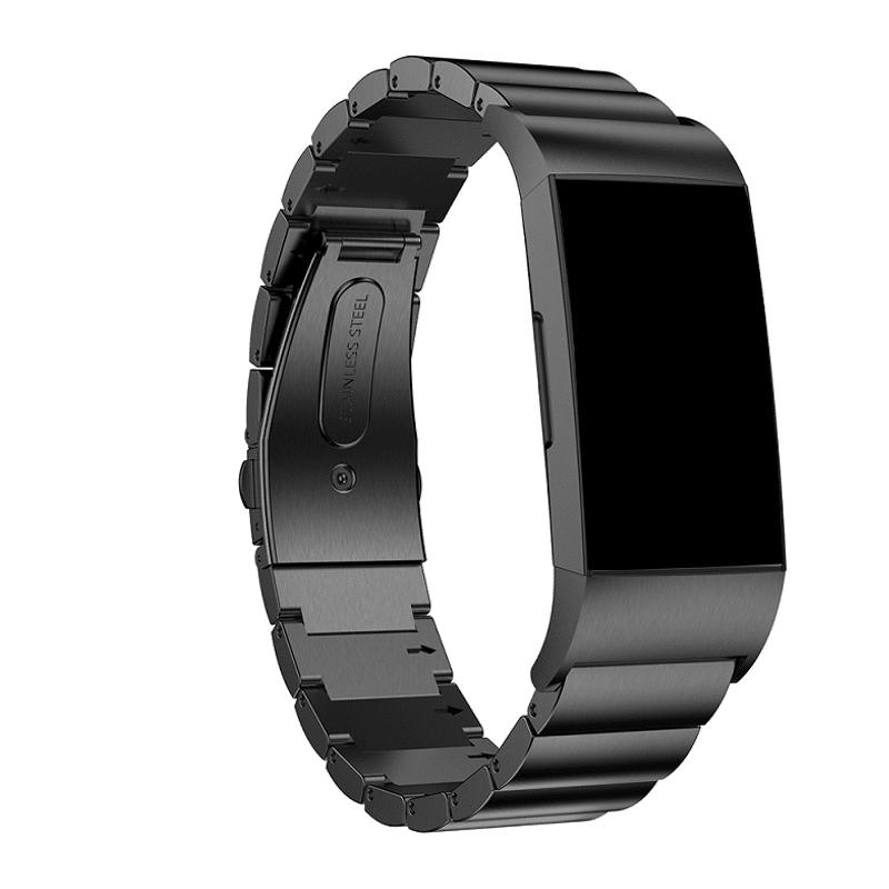 Fitbit charge 4 bandje rvs zwart - Onlinebandjes.nl