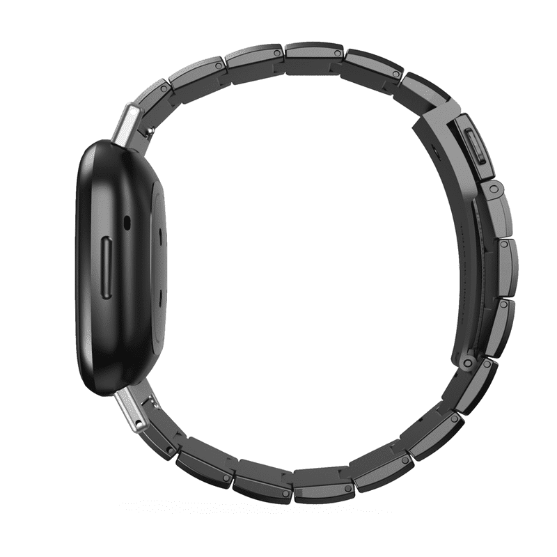 Fitbit sense Fitbit versa 3 bandje RVS zwart - Onlinebandjes.nl