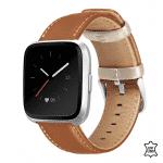 Fitbit versa 2 bandje bruin beige leer – Onlinebandjes.nl