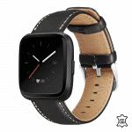 Fitbit versa 2 bandje leer zwart – Onlinebandjes.nl