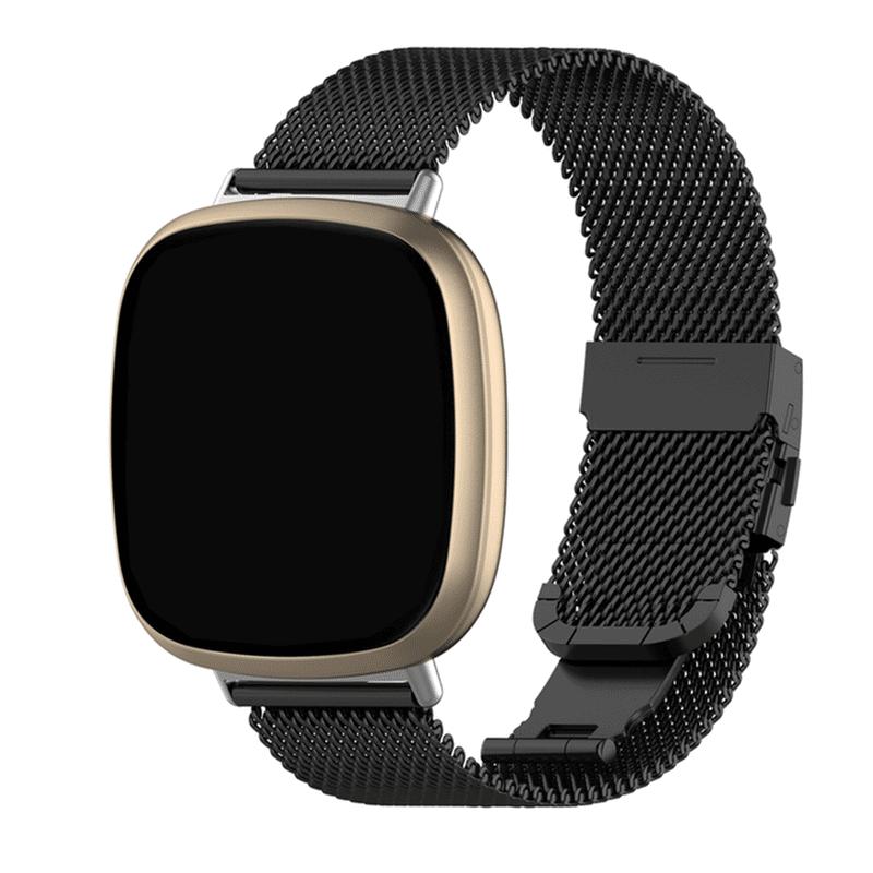 Fitbit versa 3 bandjes rvs zwart - Onlinebandjes.nl