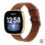 Fitbit versa 3 sense bandje leer bruin – Onlinebandjes.nl