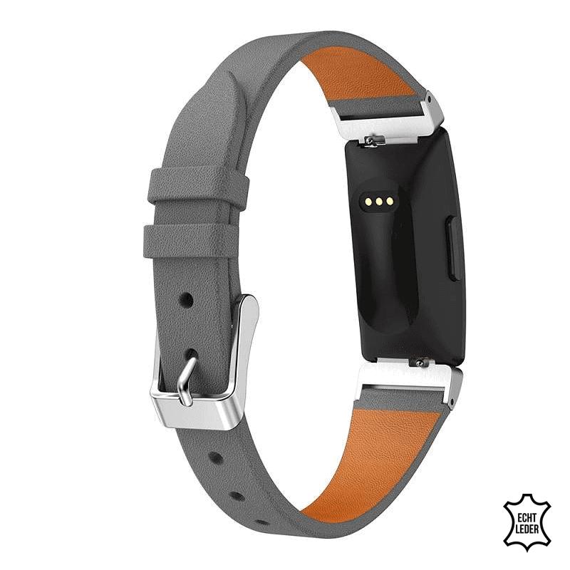 Fitbit Inspire bandje leer grijs - Onlinebandjes.nl