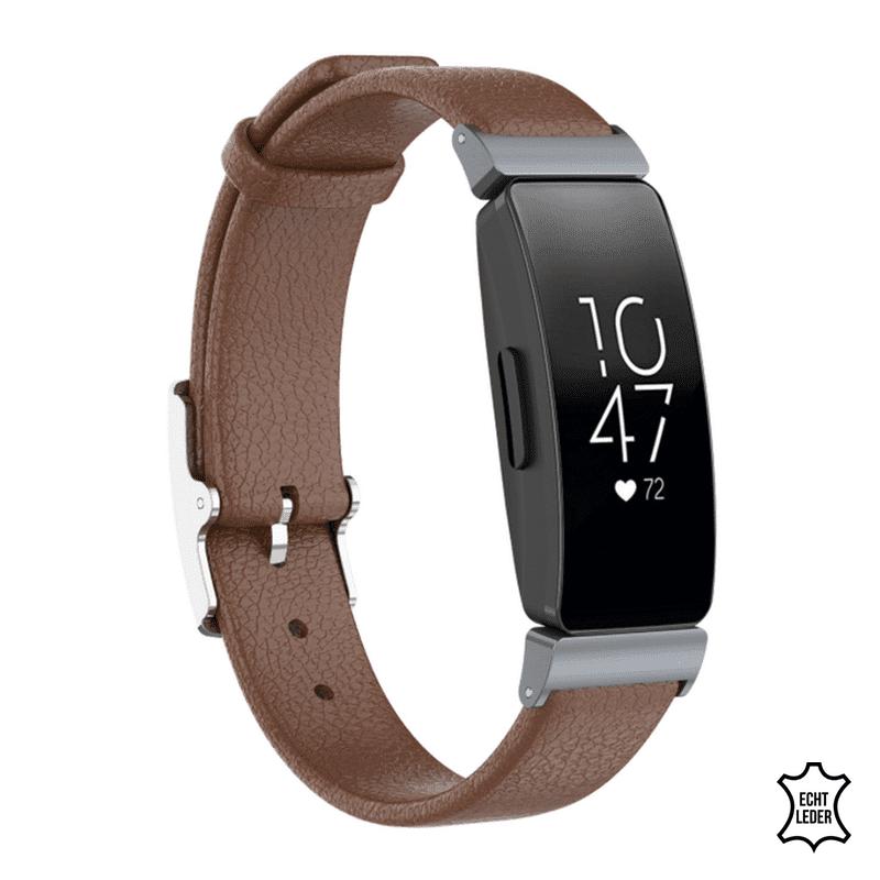 Fitbit Inspire hr bandje leer bruin - Onlinebandjes.nl
