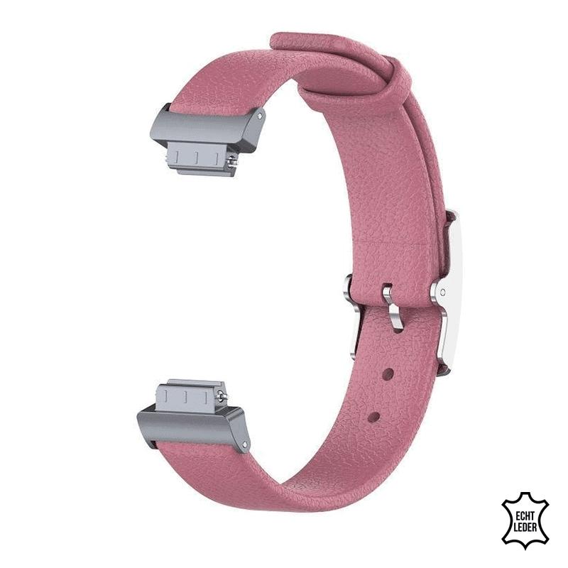 Fitbit Inspire hr bandje leer roze - Onlinebandjes.nl